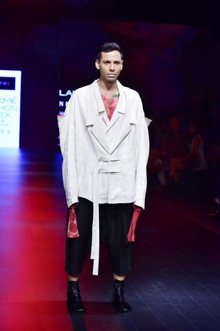White, red & black linen & chanderi jacket with t-shirt, shirt & trousers