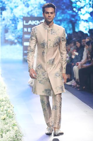 Beige & blue raw silk dahlia print sherwani with pleated pants