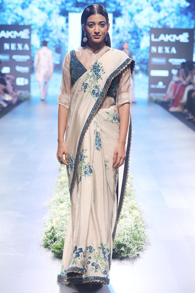 Beige & blue raw silk, organza & silk embroidered saree with shirt