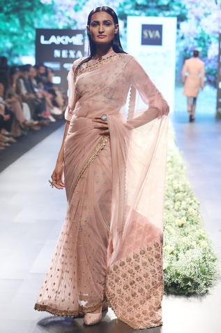 Old rose raw silk & organza embellished saree with button up shirt