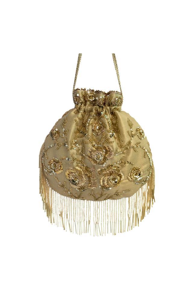 Gold zardozi embroidered sequin potli