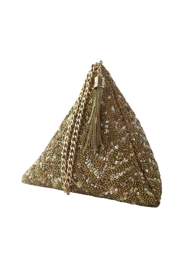Gold sequin chevron triangle clutch