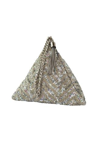 Silver sequin chevron triangle clutch