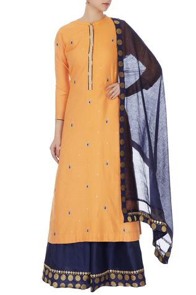 Mango yellow cotton silk embroidered kurta, skirt & dupatta