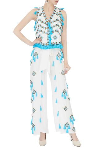 White tassel & bead hand-embroidered palazzos