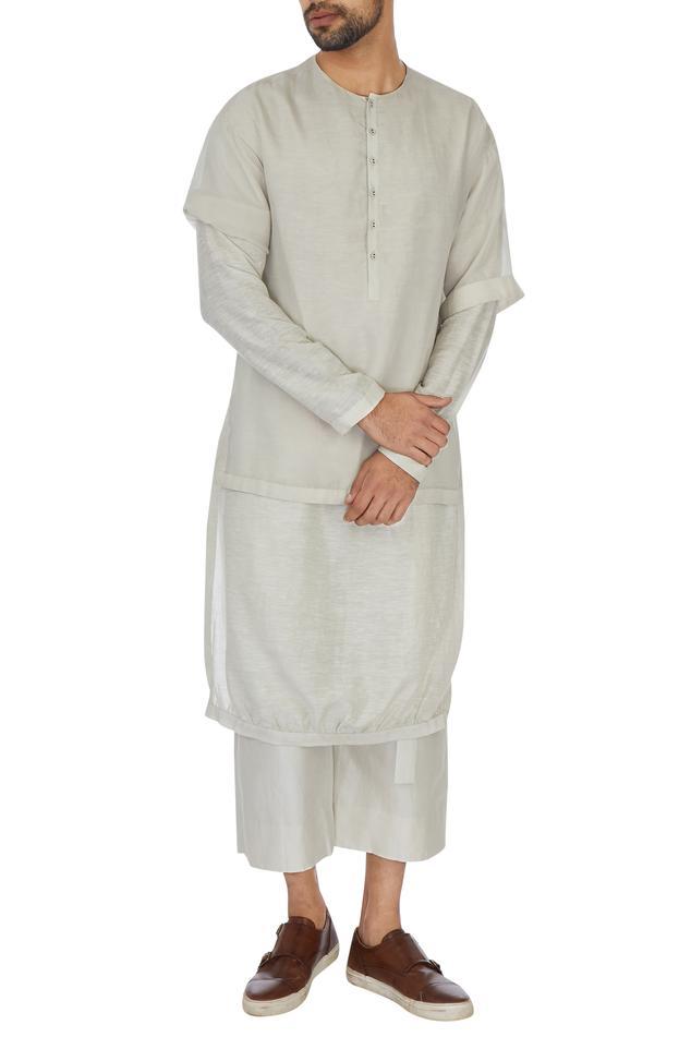 Cream layered kurta