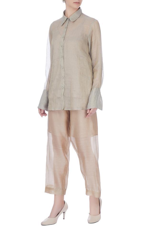 Beige chanderi silk palazzos
