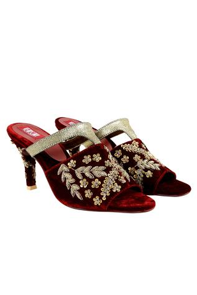 Maroon velvet peep-toe sandals