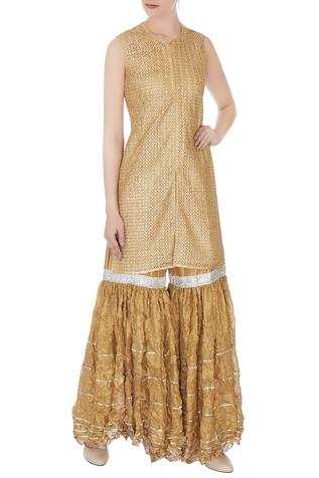 Gold kurta & sharara pants set