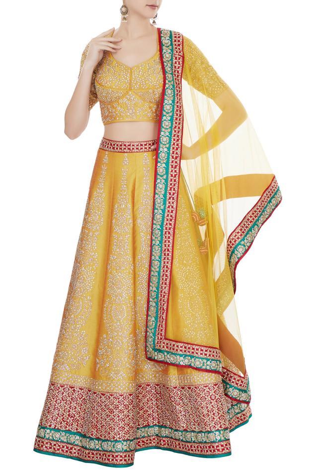 Mustard yellow & red raw silk zari embroidered lehenga with blouse & dupatta