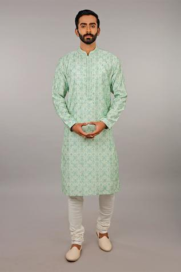 Printed Silk Kurta Set