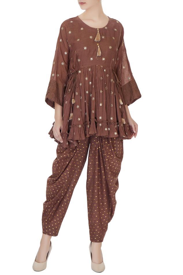 Khaki brown rajasthani short kurta with pants