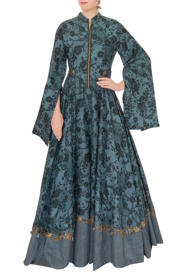 Floral Print Anarkali Gown