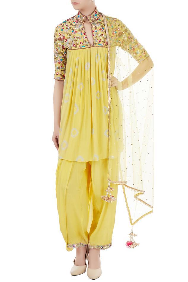 Yellow crepe & net resham embroidered kurta with dhoti & dupatta