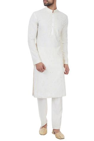 White dori embroidered kurta with pyjamas