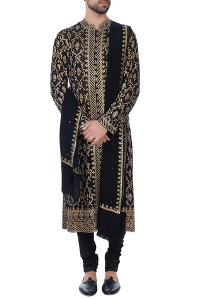 Black sequin embroidered kurta with dupatta