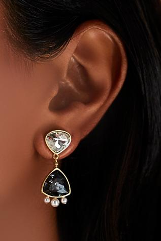 Gold plated Isharaya black swarovski earrings with pearls
