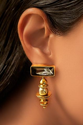 Gold plated JJ Valaya ranas warrior princess dome earrings