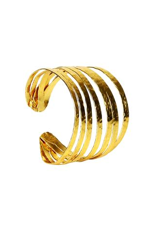 Gold-plated multiple layered cuff bracelet