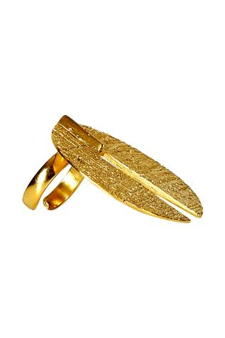 Gold plated oversized circular motif ring