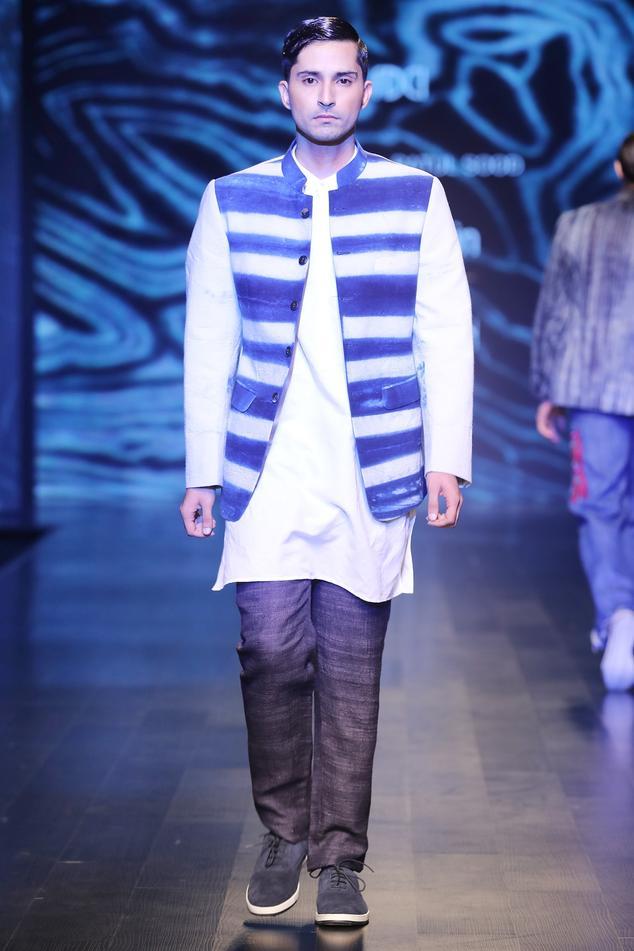 Navy blue matka silk slim fit trousers