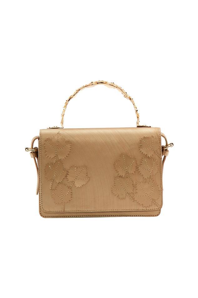 Gold leaf motif clutch with detachable handle