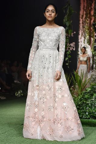 Mirror Embellished Tulle Gown