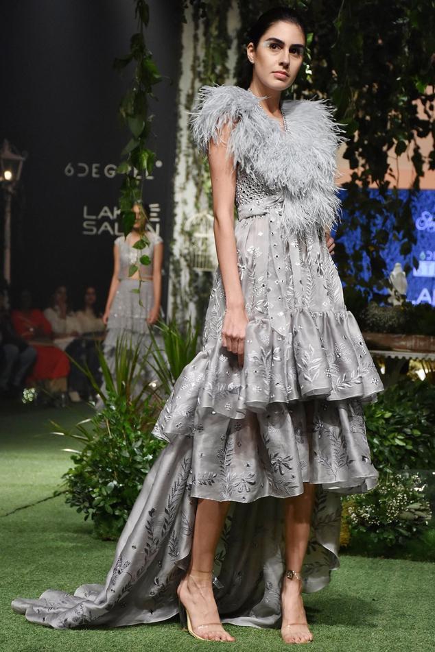 Grey sheer silk high-low dress