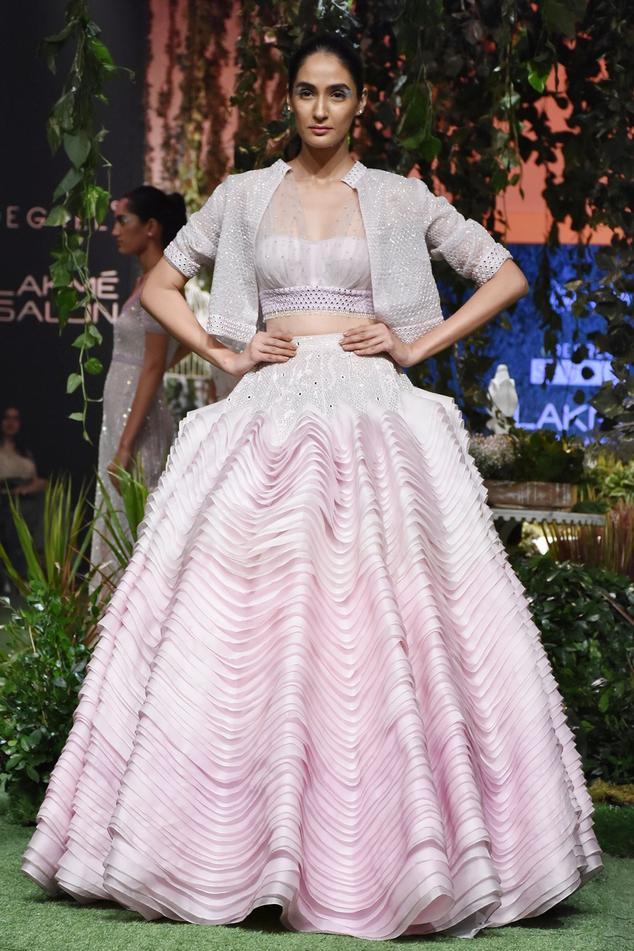 Lilac sheer silk ruffled skirt