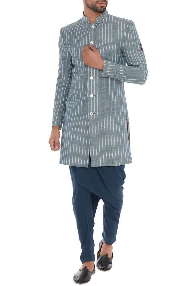 Blue draped rayon unisex pants