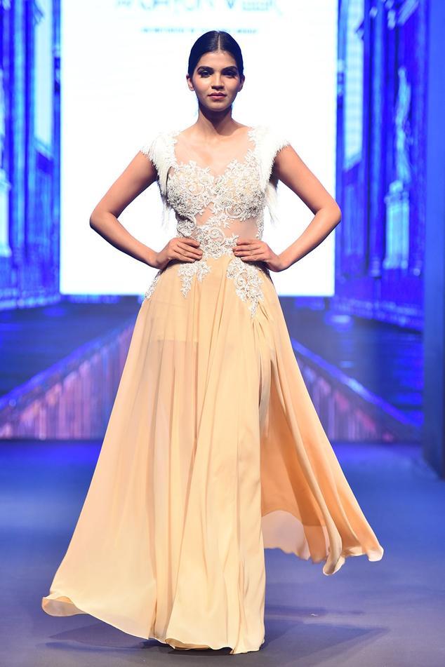 Embellished Slit Gown