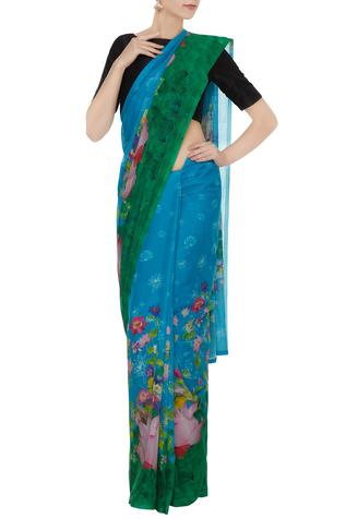 Blue & green floral printed saree