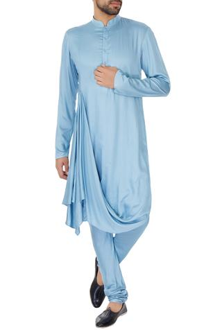 Ice blue cotton silk draped kurta & churidar