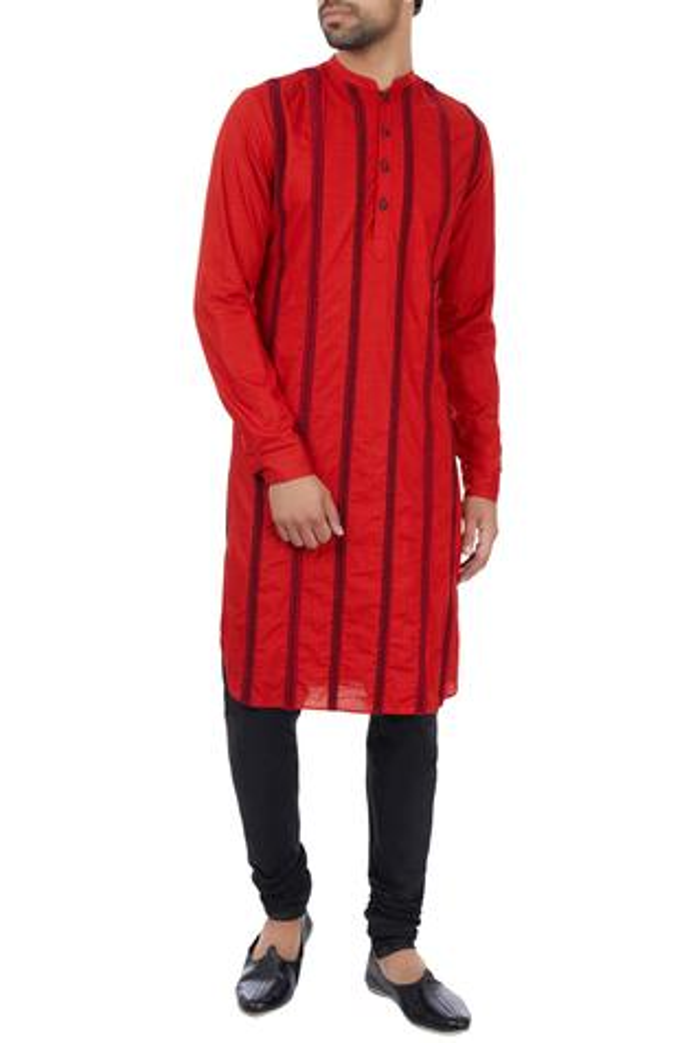 Red paper silk striped embroidered kurta