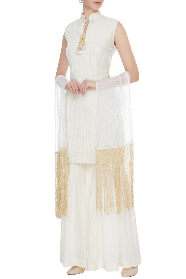 Cream & ivory handloom cotton kurta with sharara pants & dupatta