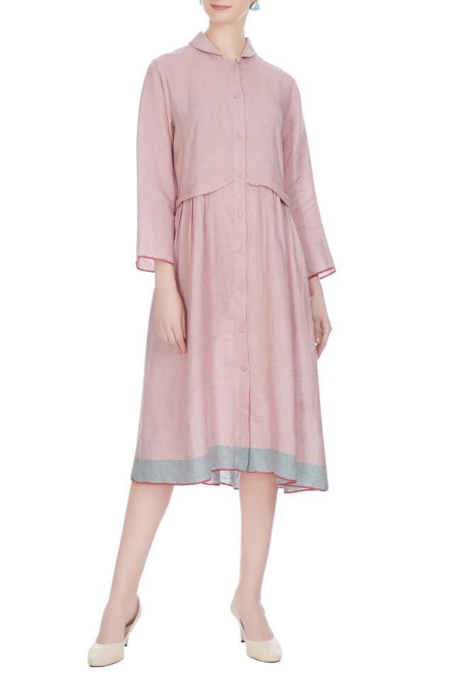Pink linen solid midi dress