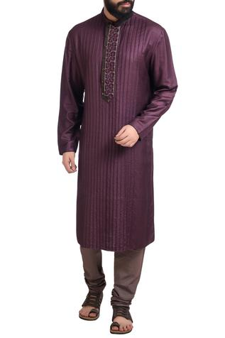Purple muga dupion silk hand embroidered kurta with churidar