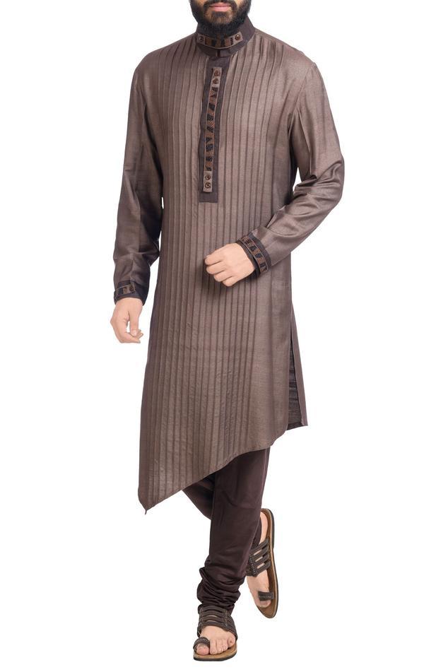 Charcoal pintuck kurta with pants