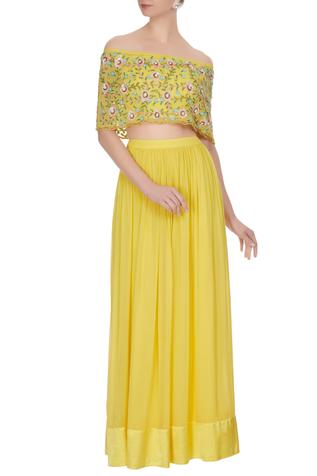 Yellow georgette bead & sequin embroidered cape & skirt