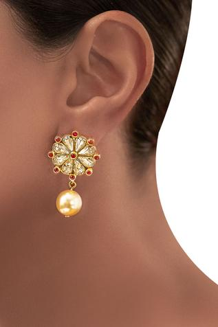 Gold plated Tarun Tahiliani floral drop earrings
