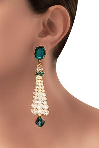 Green emerald swarovski Tarun Tahiliani tassel earrings