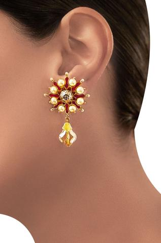 Tarun Tahiliani Floral Drop Earrings