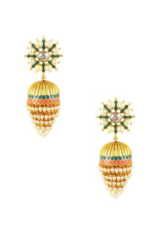 Gold plated Tarun Tahiliani emerald & swarovski jhumka earrings