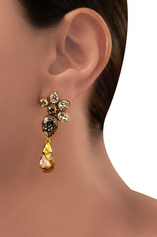 Gold plated Tarun Tahiliani patina crystal earrings