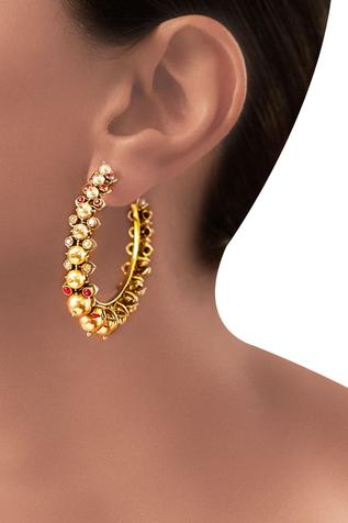 Gold plated Tarun Tahiliani maroon swarovski & pearl hoop earrings