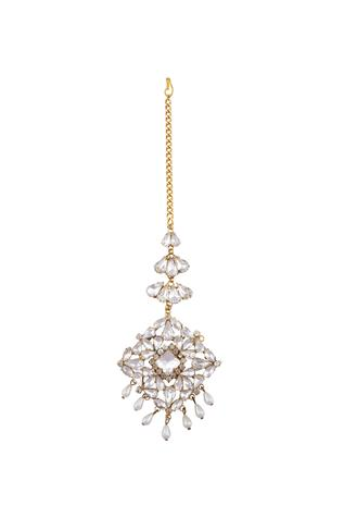 Gold plated swarovski crystal & drop pearls maangtikka