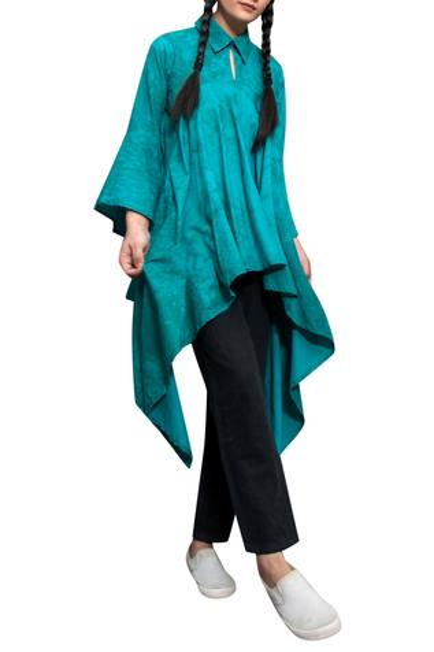 Teal green cotton asymmetric shirt