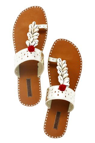 Silver shell work embellished kolhapuri sandals