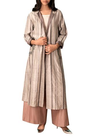 Ivory & grey striped handwoven chanderi trench coat