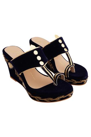 Navy blue velvet & genuine leather sole hand embroidered wedges
